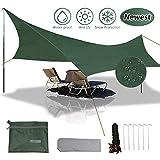 gracosy tenda da spiaggia telone da campeggio,panno macinato,tarp,tenda parasole 420d oxford,impermeabile anti-uv,durevole leggero, con 6 chiodi di alluminio e corda fibbia, 240×220 cm