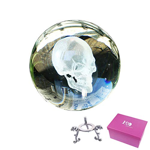 H&D Crystal Clear Crystal Ball 80mm (3.15inch) 3D Skull Head Including Metal Stand