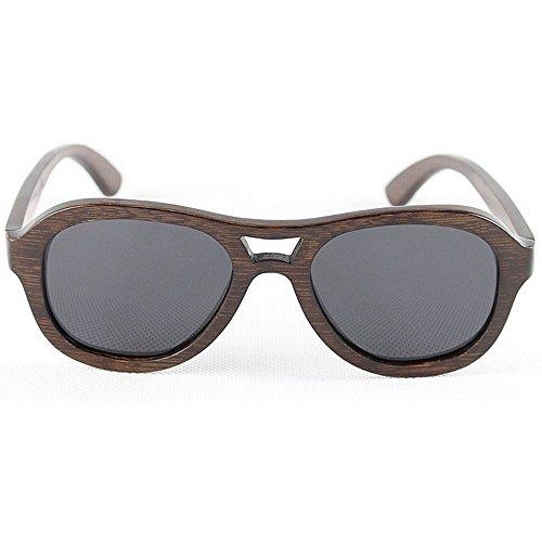 Gafas de sol clásicas polarizadas para hombres, Gafas de sol retro de bambú de los hombres hechas a mano gafas de sol polarizadas de madera redondas Gafas de sol de la protección ULTRAVIOLETA que cond
