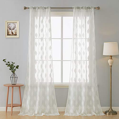 Deconovo Decorative Voile-Rod Pocket Sheer Panels Embroidery Curtains for Living Room, 52x95 Inch, Off White