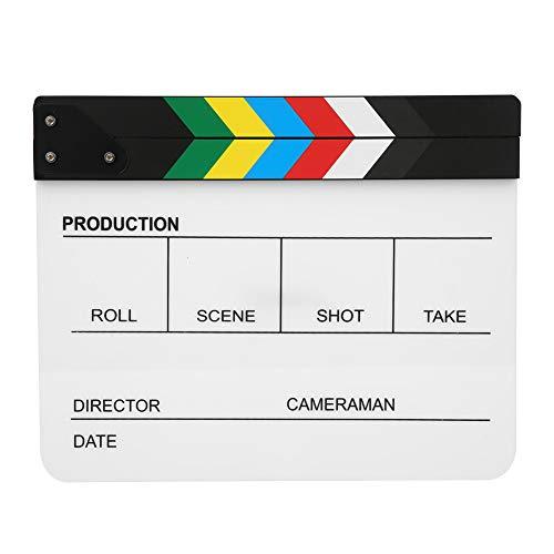 30x25 CM Claqueta de acrílico orgánico Película Director de películas Acción Clap Fotografía Herramienta, Adecuado para juegos de roles, Edición, Fabricación de videos Película de cine(PAV1YWE
