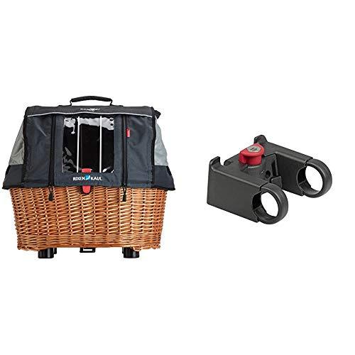 KlickFix Hundekorb Doggy Basket Plus GTA, 0399KH & Zubehör Lenkeradapter mit Schloss, Schwarz, one Size