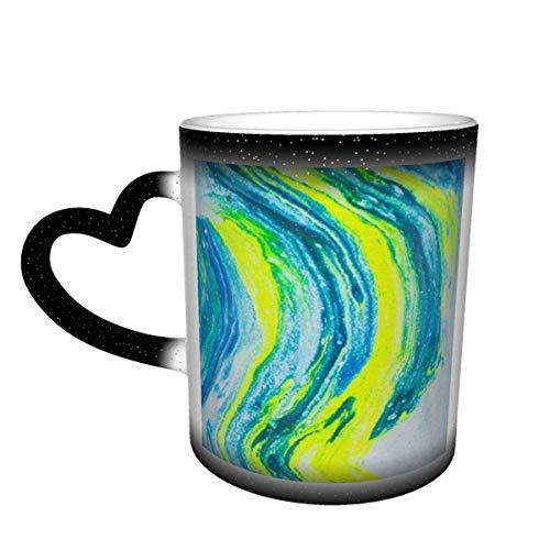 shenguang Tasses à café Tie Dye, tasse à changement de couleur sensible à la chaleur en céramique, tasse à changement de couleur, tasse à changement de couleur ciel étoilé Surprise d