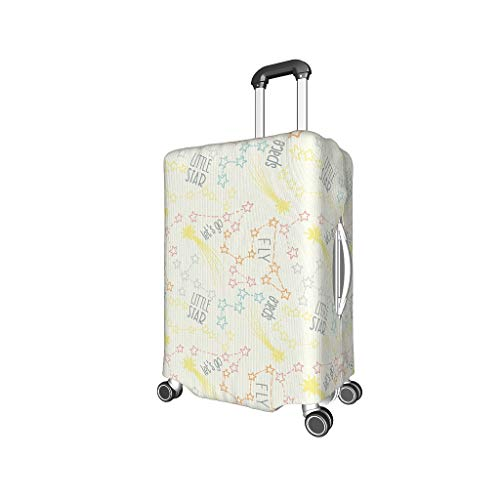 Knowikonwn Artistic Effect Short Text Travel Luggage Case Cover - Artistic Effect Unique 4 Sizes Suit Most Trolley Black m (22-24 inch)