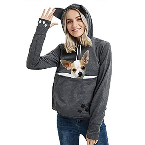 Womens Pet Carrier Sweater Dog Cat Pouch Hoodies Plus Size Tops Dark Grey L