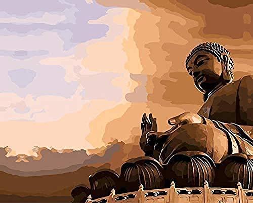 HDGREF Malen nach Zahlen Kit DIY China Große Mauer Grand Buddha Malvorlage Xdiy Ölgemälde-40x50cm-Mit Rahmen