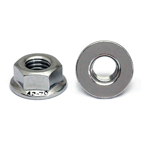 (10) 4mm x 0.70 Stainless Steel Hex Flange Nuts, Metric Coarse DIN 6923 18-8 (A2) - MonsterBolts (10, M4 x 0.70)