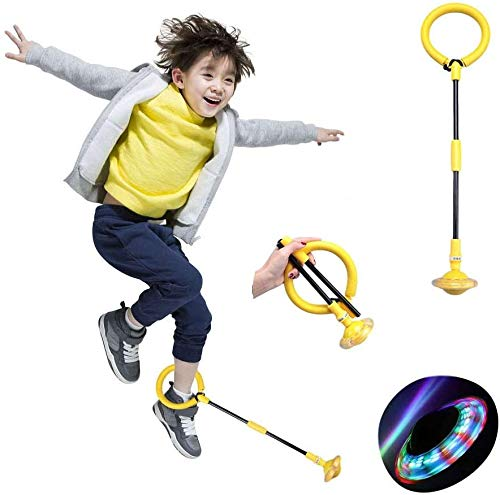 Pelota de saltar plegable para niños, color intermitente, anillo de salto para niños, fitness, deporte, juguete (amarillo)