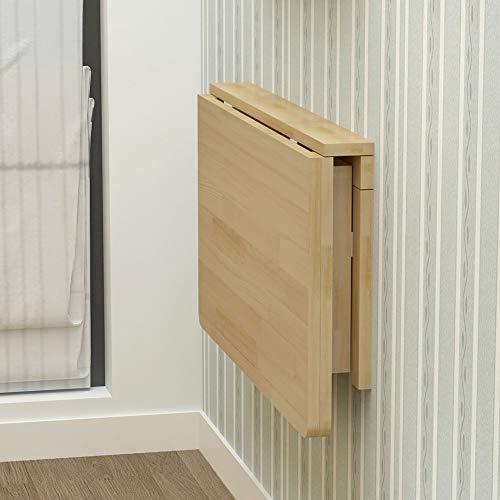 SKYHY224 Folding table Mesa de pliegue de pared, escritorio flotante de espacio pequeño, escritorio de madera plegable de madera maciza, mesa montada en la pared de la hoja de caída para comer, estudi