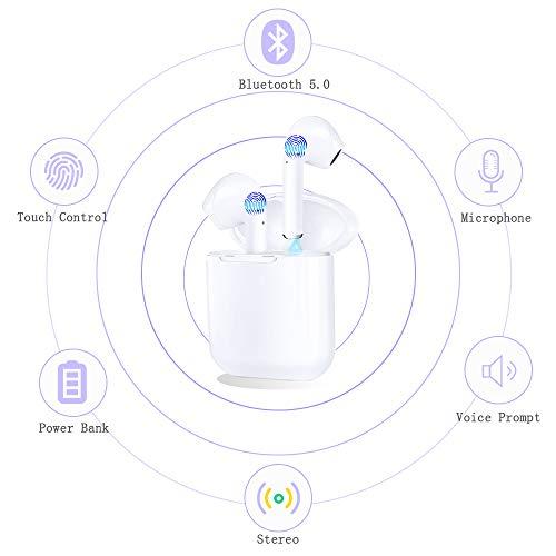 Auriculares Bluetooth, Auriculares inalámbricos Bluetooth 5.0 Sonido Estéreo Auricular Mini Twins In-Ear Auriculares Carga Rapida Resistente al Agua con Caja de Carga para iPhone y Android (blanco01)