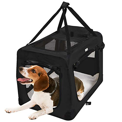 KExing Hundebox Transportbox Faltbare Reisebox Katzen Hunde Auto Box Oxford Gewebe Schwarz M