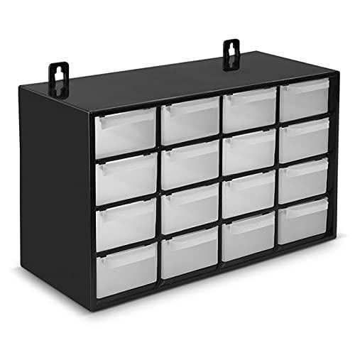 BG Spazio - Clasificador apilable con 16 cajones, negro, 17 x 27 x 12 cm. Módulo, estante organizador de plástico para piezas pequeñas, taller, costura