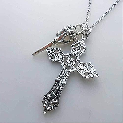 CCXXYANG Co.,ltd Necklace Cross Sull Birds Head Pendant Charms Chain Neclace - Jewelry Cross Neclace Metal Cross Women Girl Gift