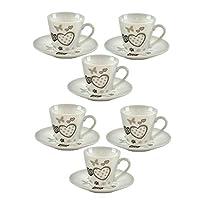 tazzine caffe' porcellana con piattino cuori 6 pz monamour