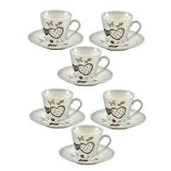Idea Regalo - TAZZINE CAFFE' PORCELLANA CON PIATTINO CUORI 6 Pz MONAMOUR