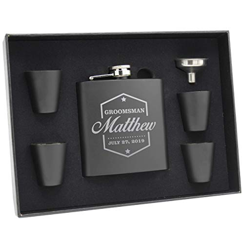 Engraved Personalized Groomsmen Flasks Gift Box Set - Wedding Favors - Custom Monogram Groomsman - Badge Style - Black
