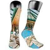 DHNKW Socks Compression Medium Calf Crew Sock,Residential House Large Indoor Pool Furniture Sunrays Leisure Time