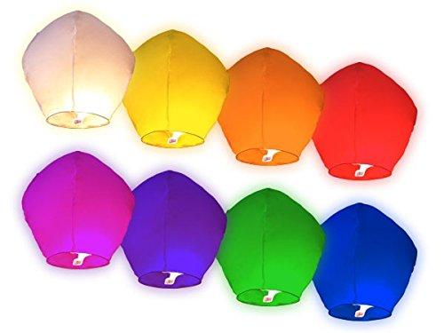 Alsino Lot de 30 lanternes Volantes Multicolores panaché de Couleurs en Papier de Riz biodégradable Surprise fête Mariage céleste Chinoise thailandaise Anniversaire Nouvel an Romantique