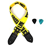 Guitar Strap, Acoustic Guitar Strap Electric Guitar Straps with Leather Ends Adjustable Classical Suitable For Bass, Electric & Acoustic Guitars (Yellow)