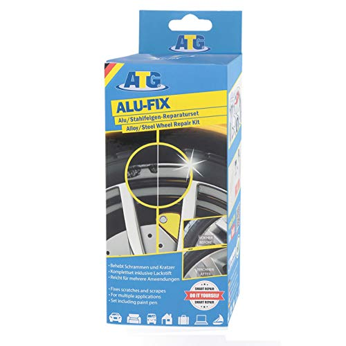 ATG Set reparación Llantas Relleno para daños Superficiales en Llantas de aleación y Acero, Incluye Pintura Color Plata