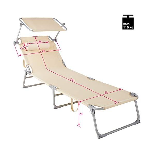 TecTake 800773 Set 2X Tumbona de Playa con Parasol, Respaldo Ajustable 4 Posiciones, Reposacabezas Extraíble, Exterior Piscina Terraza Jardín