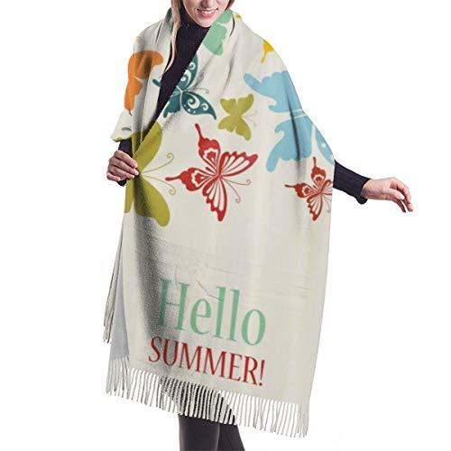 YANAIX Foulard d'hiver classique pour femme, fond vintage avec des papillons et des points Bonjour texte de voeux d'été, écharpe chaude et douce Chunky grande couverture foulards châle