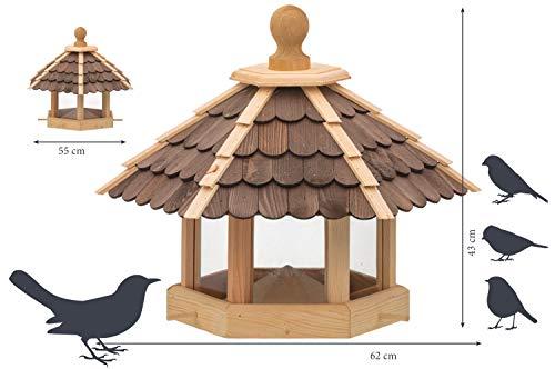 dobar 44136e Großes XXL Vogelhaus aus Holz (Kiefer) für Garten, Balkon, mit dunklen Holzschindeln, Silo mit Futterpyramide, 6 Anflugstangen für Vögel – XL Vogelhäuschen Vogelfutterhaus - 3