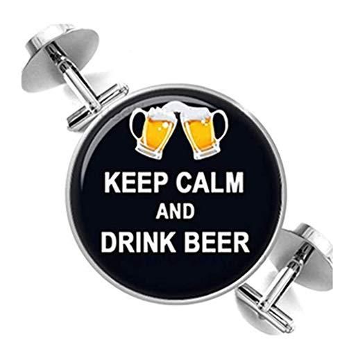 Heng Yuan Manschettenknöpfe, mit Aufschrift Keep Calm and Drink Beer, Glasschmuck, Reine Handarbeit
