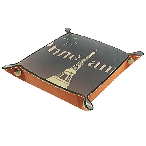 Bandeja de almacenamiento de cuero,bandeja de bolsillo,bandeja de valet,contenedor de bandeja de joyería,Bonne Annee Eiffel Tower Paris ,plato