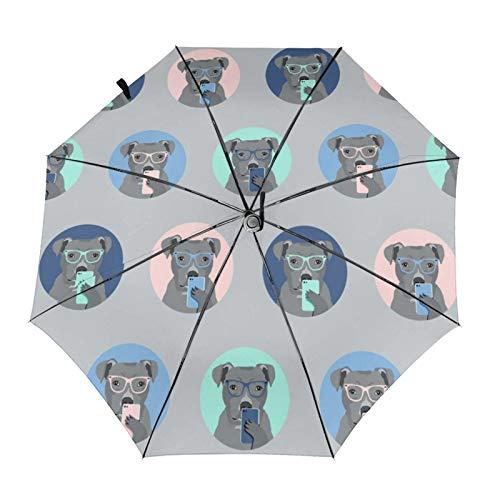 Pitbull Selfie - Paraguas automático para perro, color gris, protector solar impermeable, resistente al viento, duradero