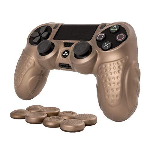 CHIN FAI für PS4 Controller Schutz-Hülle,Silikon Anti-Rutsch 8 Daumen Griffe Skin Grip Schutzhülle für Sony PS4 / Slim/Pro Controller(Gold)