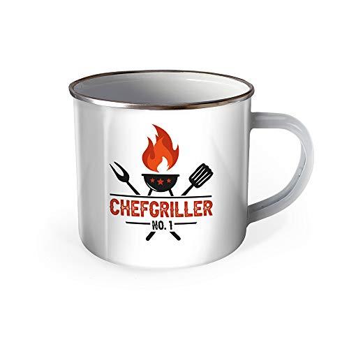Trötsch Emaille Becher Grillen Tasse Chefgriller NO. 1 Grillmeister