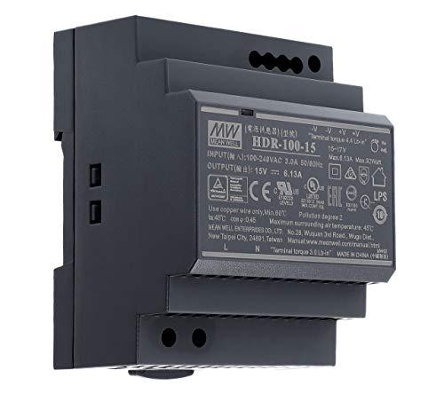 15 VDC | 6,13 A | 92Watt | Mean Well HDR-100-15 Hutschienen-Netzteil DIN-Rail