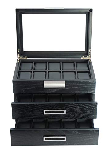 TIMELYBUYS 30 Ebony Wood Watch Box Display Case 3 Level Storage Jewelry Organizer with Glass Top, Stainless Steel Accents, and 2 Drawers