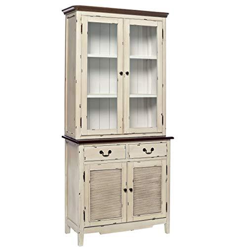 Buffetschrank im Landhausstil mit Glastüren, Schubladen - Vitrine im Vintage-Look - Holz - 150 x 44 x 206 cm - Cabott Cove BUTLERS