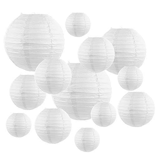 PTCOME 20pcs Paper Lanterns White Paper Lampshade Round with Wire Ribbing Hanging Lantern Decorations Paper Lamps for Baby Shower Wedding Birthday Party Garden Home Ceiling Decor 6' 8' 10' 12'