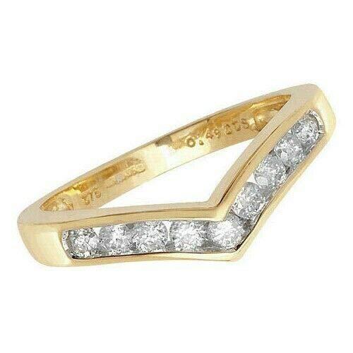 Diamond Wishbone Ring Yellow Gold Channel Set Wedding Anniversary Certificate - Size: M