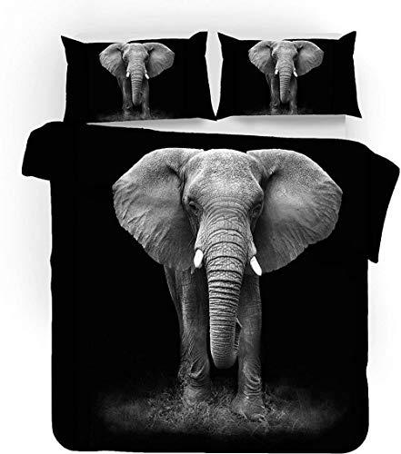 Colchas Cama 90 colchas edredones fácil Cuidado Juego de Funda de edredón,Elefante -(Cama 90-150x200cm)