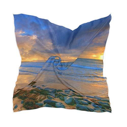 Ahomy Ocean Beach Sunset Art - Pañuelo cuadrado para mujer, diseño de atardecer