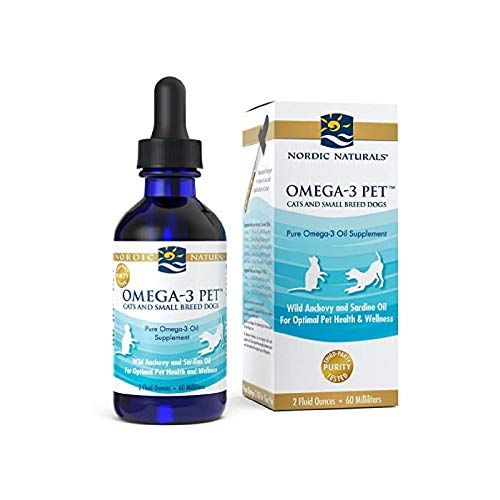 Nordic Naturals Omega-3 Pet, Unflavored - 304 mg Omega-3 Per One mL - 2 oz - Fish Oil for Cats & Dogs with EPA & DHA - Promotes Heart, Skin, Coat, Joint, & Immune Health - Non-GMO