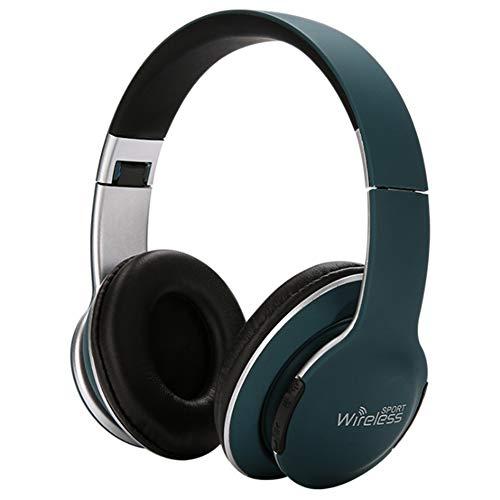 Auriculares Deporte, Auricular Bluetooth Over-Ear Impermeable Cascos Cancelación del Ruido Auricular Hi-Fi Sonido Estéreo Plegable Portátil para Celular/Running Dispositivi Bluetooth Earphones,Verde