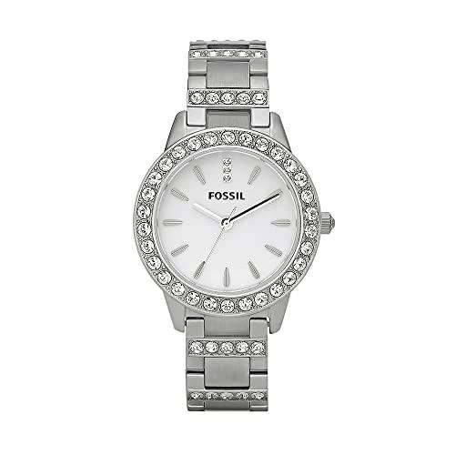 Fossil Women's Jesse Quartz Stainless Steel Three-Hand Watch, Color: Silver Glitz (Model: ES2362)