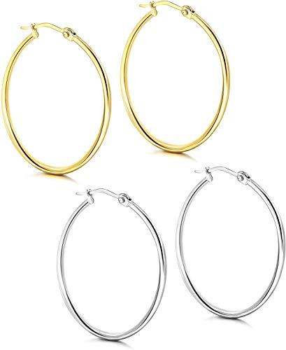 Milacolato - Pendientes de aro de acero inoxidable para mujer, 2 pares de aros chapados en oro y plata con cierre de clic, lindos aretes pequeños, 10 mm, 15 mm, 20 mm, 25 mm, 30 mm, 40 mm