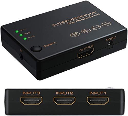HDMI分配器2.0 HDMIセレクター3入力1出力 HDMI切替器4K+3D 60Hz HDCP2.2対応切り替え 高解像度 自動手動切替機能搭載 リモコン付き Switch、PS4 Pro、PS3、Xbox、Fire TV、ラップトップ、Apple TV、DVDプレーヤーなど対応