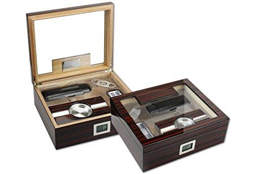 Prestige Import Group Kensington Gift Set Ebony Cherry Wood Finish Cigar Humidor - Includes: Ashtray, Humidifier, Guillotine Cutter, Hygrometer