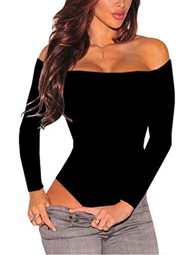 SEBOWEL Body con Spalle Scoperte per Donna Camicia a Maniche Lunghe Elegante Sexy Senza Schienale per Donna (S, Nero)