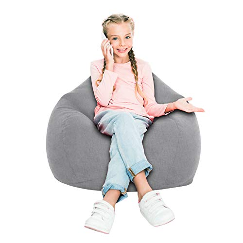 iBccly [No Filler] Bean Bag Chair Cover, Soft Bean Bags Chairs for Kids Teens   Stuffable Zipper Beanbag for Organizing Children Plush Toys for Garden Lounge Dorm Room (Grey, L-35.4'x 43.3')