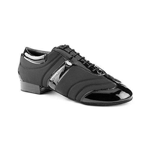 PortDance Herren Tanzschuhe/Sneakers PD Pietro Premium - Lycra/Lack Schwarz - Rauledersohle [EUR 42]