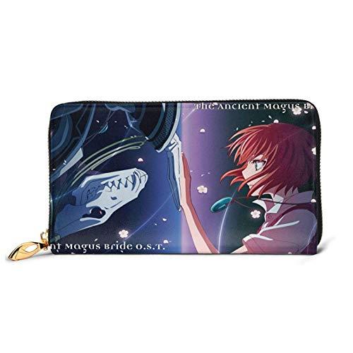 IUBBKI Carteras de Piel Carteras de Mujer The Ancient Magus' Bride Anime Teenager Leather Zip Wallet,Cartoon Fashion Leather Craft Foldable Wallet