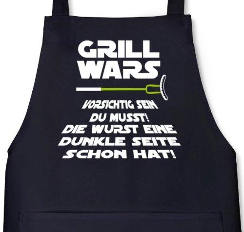Lustige Grillen Barbecue Schürze von Shirtstreet24 mit Dunkle Seite Grill Wars Aufdruck, Größe: onesize,Schwarz